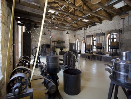 Inner view of the olive press museum of Lesvos