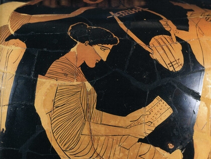 Image of Saphoo on an ancient Greek pot