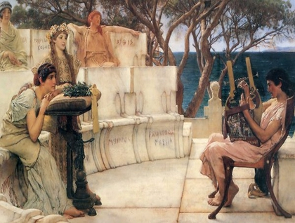 Painting of Sappho reciting poetry